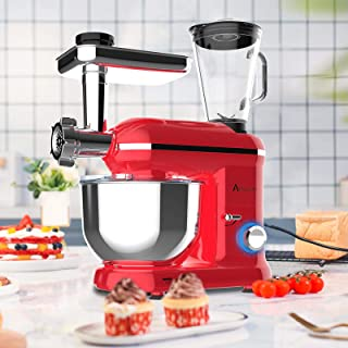 Ausbuy Stand Mixer, 1100W 4.5L 6-Speed Tilt-Head Food Mixer, Kitchen Electric Mixer with Dough Hook, Wire Whip & Beater (R...
