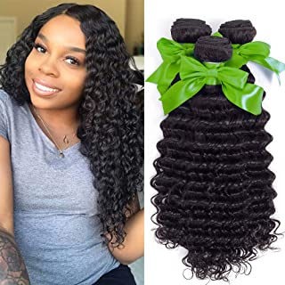 Brazilian Virgin Hair Deep Curly Wave 3 Bundles 100% Unprocessed Human Hair Natural Black Color Hair Extensions Can Be Dyed and Bleached (16 18 20)
