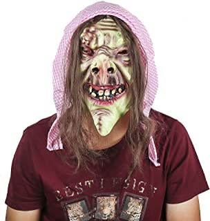 Scary Evil Old Witch Mask,Halloween Witch Mask Old Hag Snow Horror Witch Mask Halloween Costume Latex Full Mask Adult Size