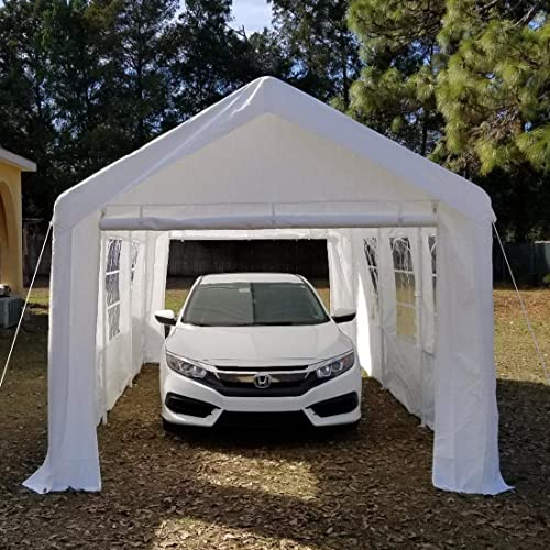 Peaktop 20x10 Heavy Duty Portable Carport Garage Car Shelter Canopy Party Tent Sidewall