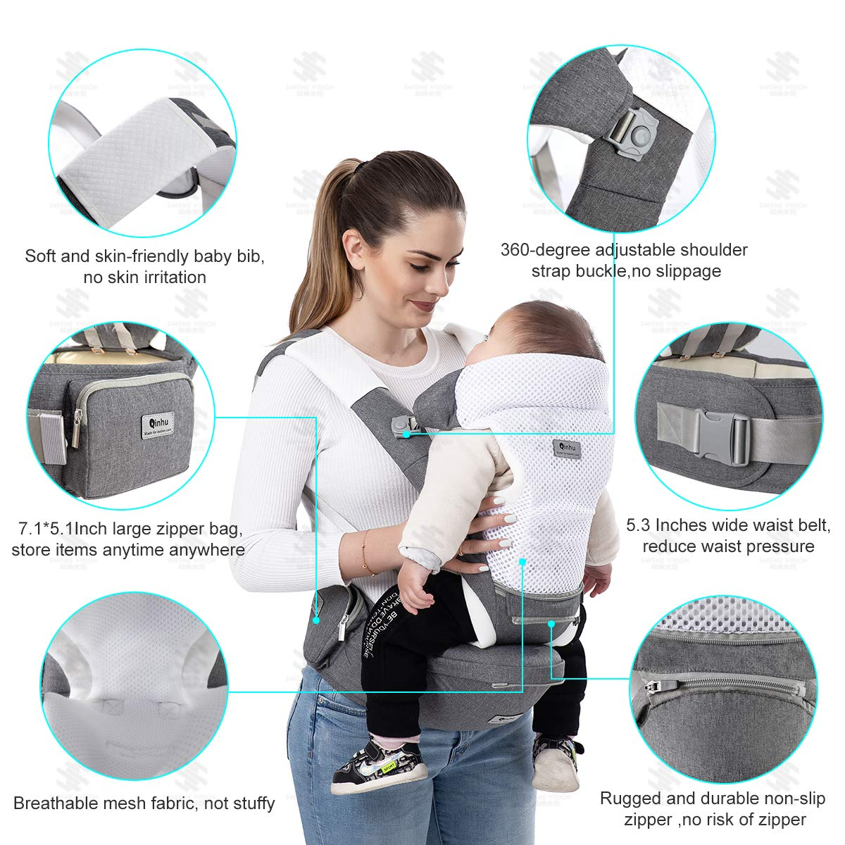 QINHU Baby Carrier, Multifunction Baby Carrier Hip Seat for 3-36 Month Baby, 6-in-1 Ways to Carry, Adjustable Size,All Seasons, Perfect for Hiking Shopping Travelling Gray