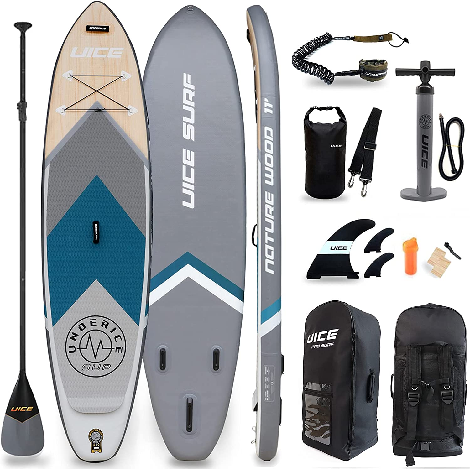 UICE Grey Wood Inflatable Stand Clearance SALE! Limited time! excellence Up x6 11'x33 Board Paddle Uniqu