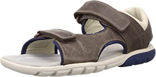 Clarks Boy's Rocco Wave Brown Leather Sandals