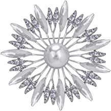 VVANT Crystal Brooch,Sliver Pearl Brooch Pins,Wedding Party Jewelry Flower Brooch Pin for Women