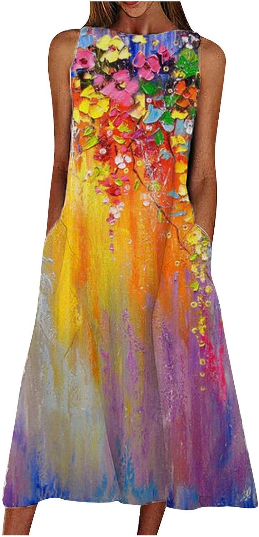 JPVDPA Women's Summer Sleeveless Casual Dress Pocket Fashion Loose Long Dress O-Neck Print Retro Dress