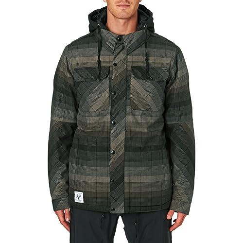 686 Mens Authentic Woodland Insulated Snowboarding Jacket Olive Yarn Dye Stripe Medium