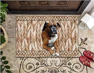 LIFESELAZ Dog Doormat Boxer Dog Wicker Welcome Door Mat for Indoor Outdoor Entrance Non-Slip Floor Mat (Brown, M (17.72'' ...