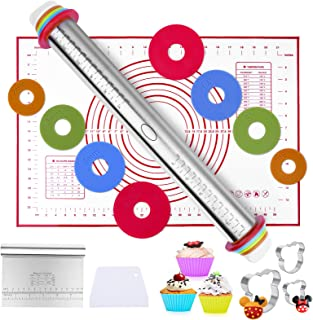 HOMENOTE 10 Pcs Baking tool, Adjustable Thickness Rolling Pin and Silicone Baking Pastry Mat Set, Stainless Steel Dough Ro...