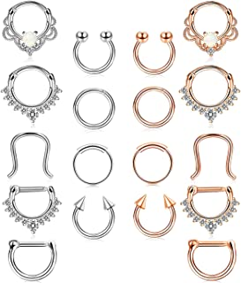 18 Pcs Stainless Steel Septum Hoop Nose Rings Cartilage Rings Clicker CZ Body Piercing Jewelry