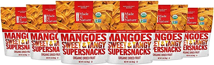 Made in Nature Organic Dried Fruit, Mangoes, 3oz Bags (6 Count) – Non-GMO, Unsulfured Vegan Snack