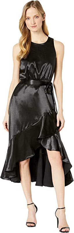 Satin Sleeveless Ruffle Hem Tie Sash Dress