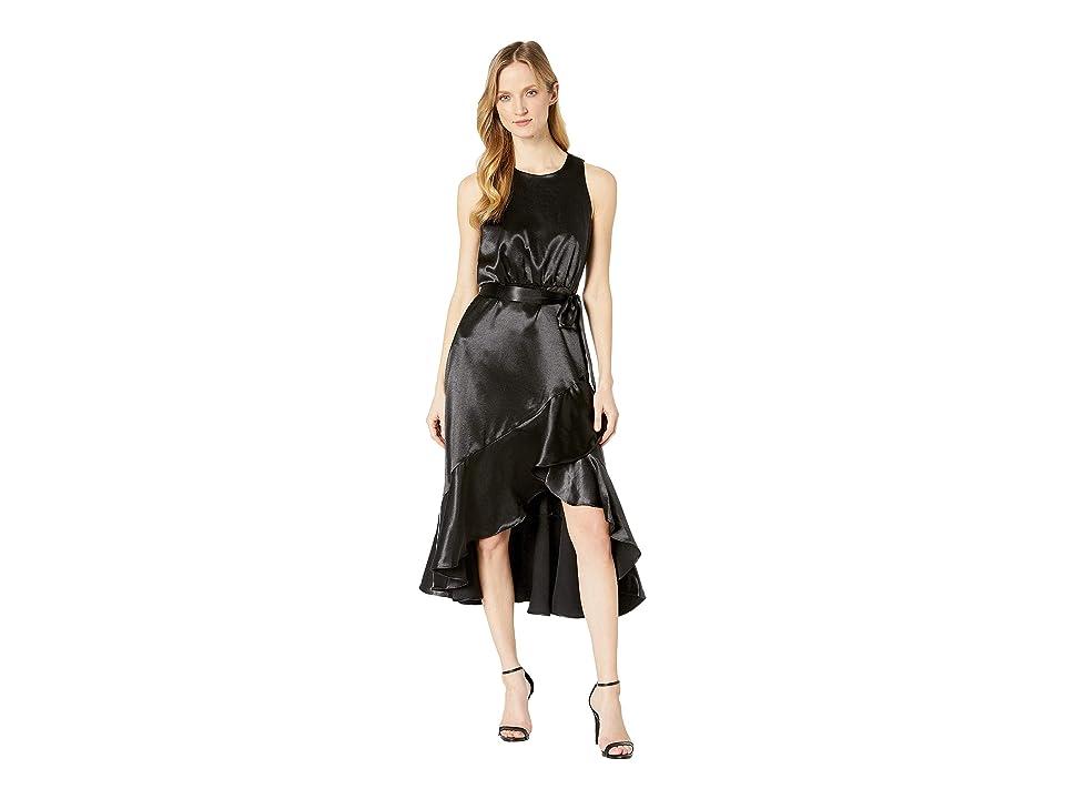 Taylor Satin Sleeveless Ruffle Hem Tie Sash Dress (Black) Women