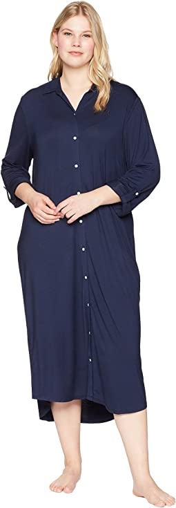LAUREN Ralph Lauren - Plus Size Long Sleeve Roll Tab Ballet Sleepshirt