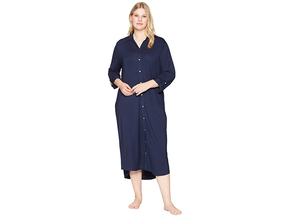 LAUREN Ralph Lauren Plus Size Long Sleeve Roll Tab Ballet Sleepshirt (Spring Navy) Women