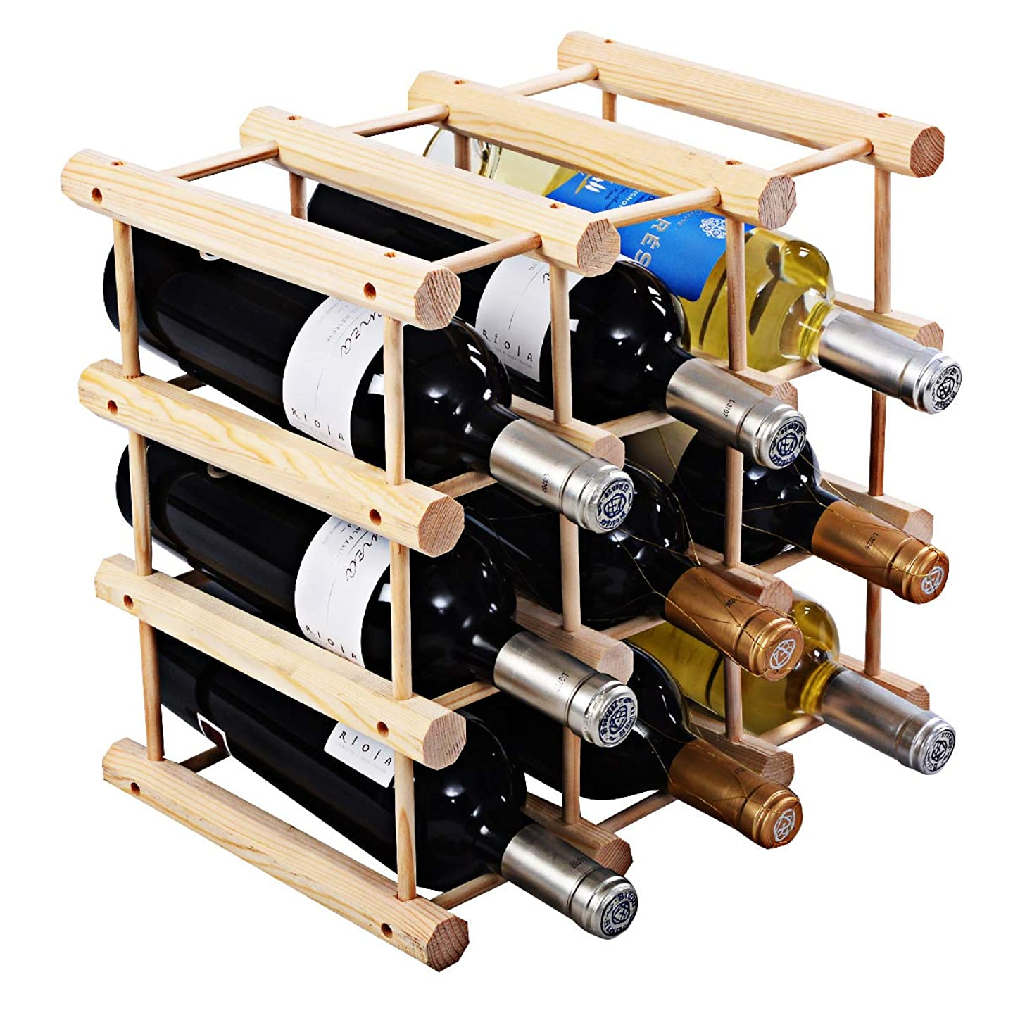 Giantex Wine Rack Bottle Display Shelves Wood Stackable Storage Stand Wobble-Free Wine Bottle Holder Organizer for Bar, Wine Cellar, Basement, Home Kitchen Free Standing Bottle Rack (12-Bottle)