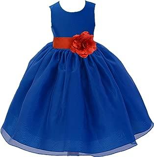 ekidsbridal Royal Blue Organza Skirt Satin Bodice Flower Girl Dress Ballroom Dresses 841S