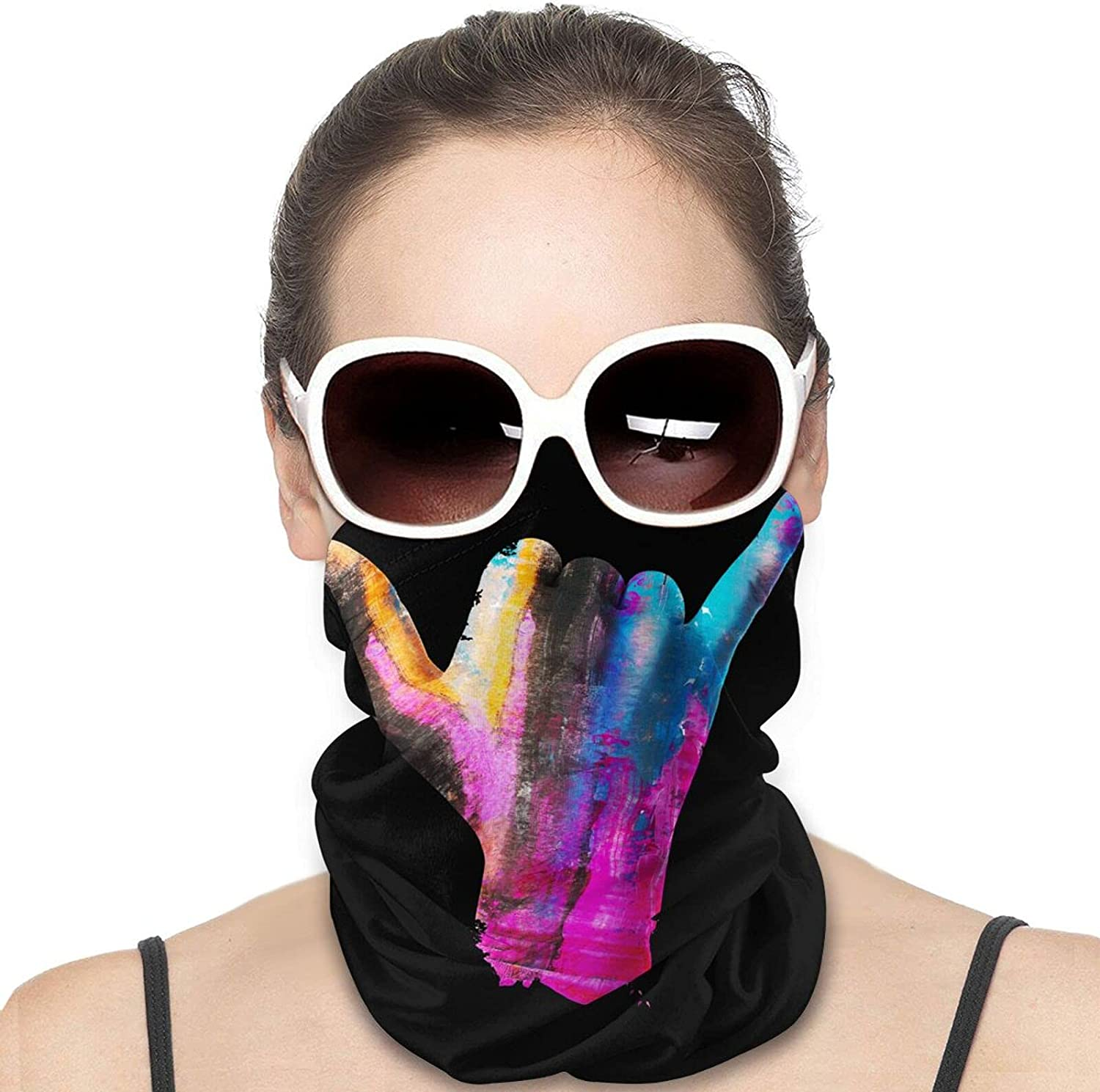 Floral Finger Sign Gesture Round Neck Gaiter Bandnas Face Cover Uv Protection Prevent bask in Ice Scarf Headbands Perfect for Motorcycle Cycling Running Festival Raves Outdoors
