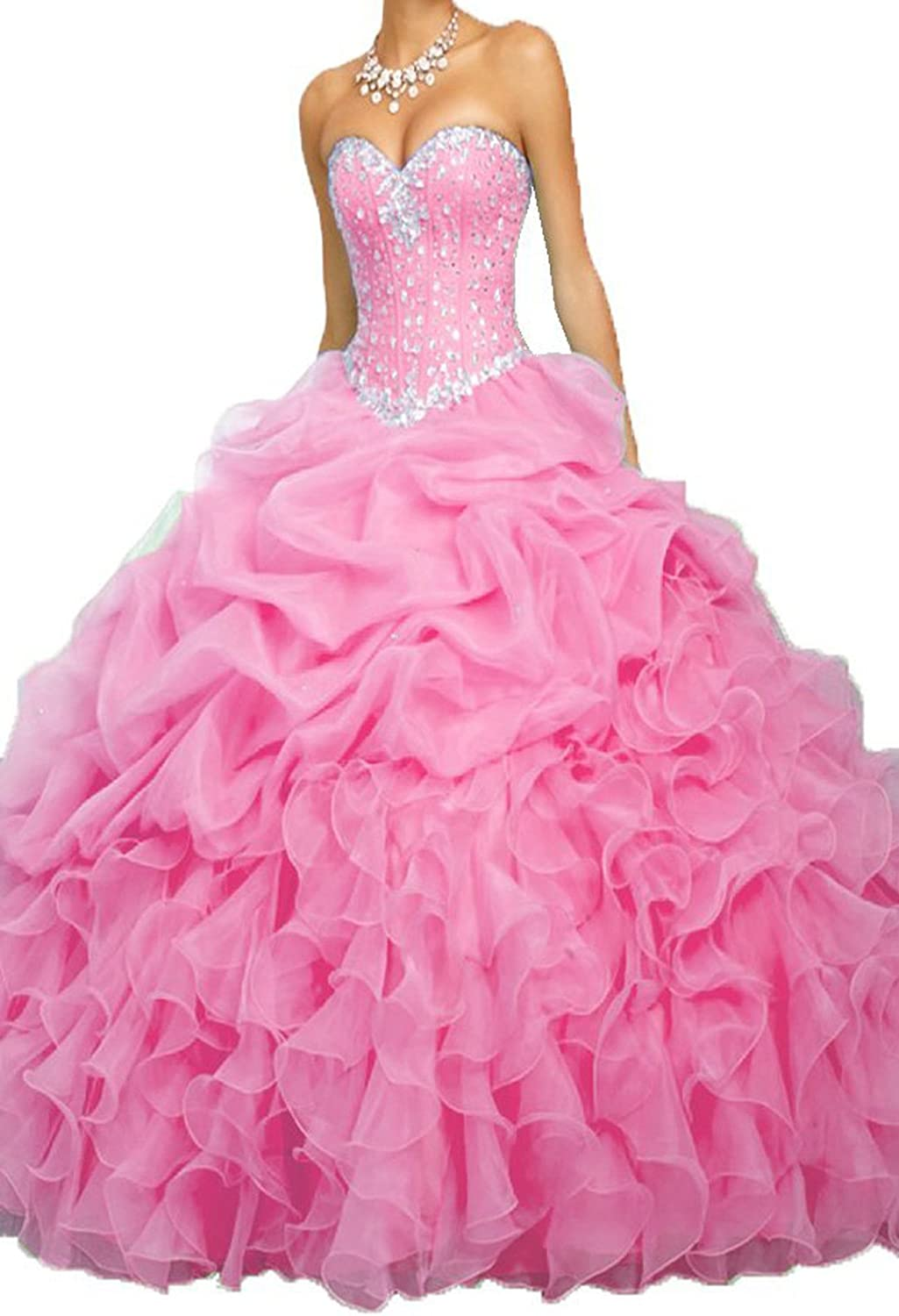 PromQueen Women's Beaded Ball Gown Sweet 16 Dresses Princess Quinceanera Dresses