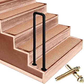 Handrail Picket #1 Fits 1-Step Wrought Iron Stair Handrails, Matte Black U-Shaped Fence, with Installation Kit Outdoor Step Handrails, Size Optional