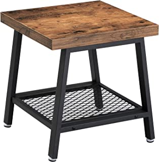 VASAGLE 2-Tier End Table, Industrial Nightstand, Coffee Table with Storage Shelf, Wood Look Accent Furniture, with Metal Frame ULET42X