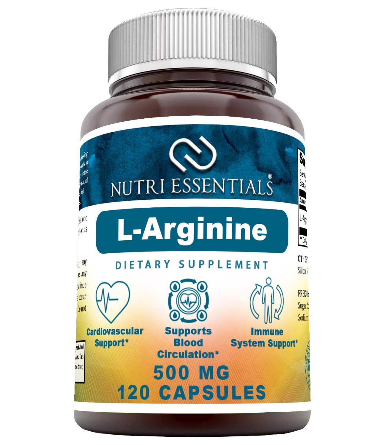 Nutri Essentials L-Arginine 500 mg 120 Capsules (Non-GMO) Supplement - Best Amino Acid Arginine HCL Supplements for…