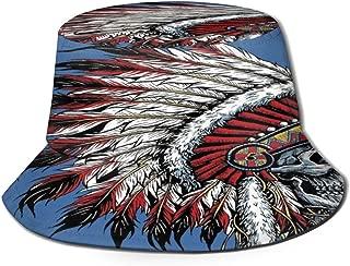 Fisherman Hat Original Motorcycle Indian Skull Sun Hat Women Men Eye Protect Breathable Bonnie Cap 3D Printed Beach Hat Durable&Reversible for Summer Outdoor