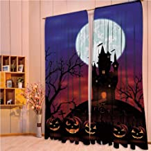 ZHICASSIESOPHIER Finel Kids Curtains for Living Room Bedroom Window Curtains Baby Room Lovely Children Curtains Drapes,Haunted House Castle Hill Valley Night Sky October 84Wx63L Inch