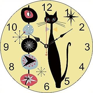 Retro Atomic Era Mid Century Modern Cool Cat Wall Clock Decor for Bedroom Nursery Round Silent Wood Clock Art for Kids Girls Boys Room 14 Inches