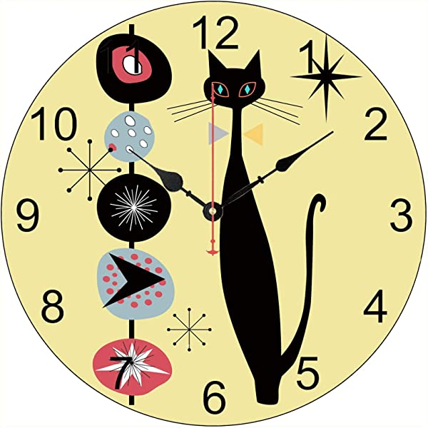 Retro Atomic Era Mid Century Modern Cool Cat Wall Clock Decor For Bedroom Nursery Round Silent Wood Clock Art For Kids Girls Boys Room 14 Inches