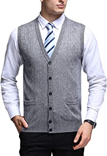 Mens Knitted Gilet Thick Sweater V Collar Button Closure Sleeveless Jumper with Two Pockets