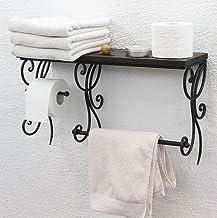 DanDiBo Handdoekhouder muur metaal met houten plank bruin 60 cm HX12992 handdoekenrek met toiletpapierhouder wandrek badkamer