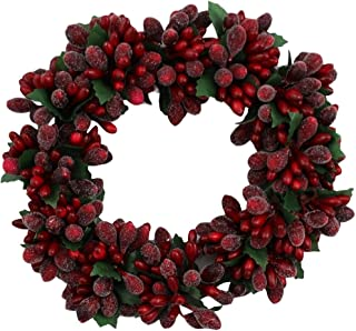 6-inch Christmas Red Beaded Berry Wreath Candlering Candle Ring Ornament
