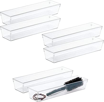 mDesign Bathroom Vanity Drawer Storage Organizer Tray Bin for Beauty Products,  Makeup,  Cosmetics - 6 Pack,  3 x 12 x 2 - Clear