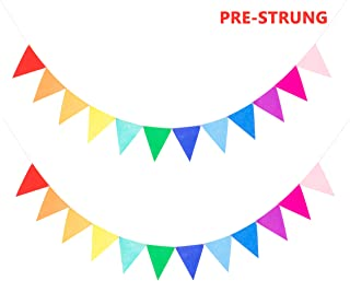 2 Assembled Felt Rainbow Banners Bunting Multicolor for Kids Birthday Rainbow Party Supplies