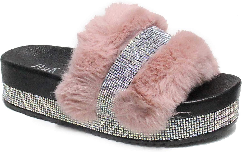 H2K Women's Fur Slides Rhinestone Glitter Platform Sandals Monica