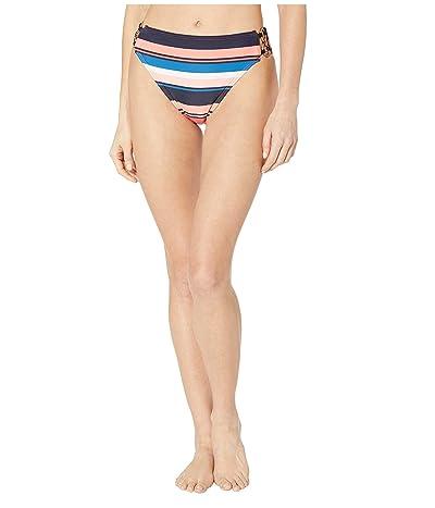 MICHAEL Michael Kors Large Stripe High-Waist Bikini Bottoms (Persimmon Multi) Women