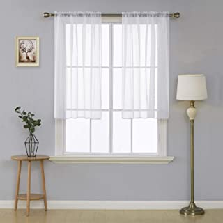 Deconovo White Sheer Curtains 45 Inch Length-Rod Pocket Voile Drape Curtains for Bedroom 2 Panels 38x45 Inch