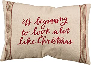Primitives by Kathy Vintage Flour Sack Style Holiday Look A Lot Like Christmas Throw Pillow, 20 x 14-Inch