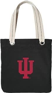 Indiana University Tote Bag Rich Cotton Canvas IU Bags Black