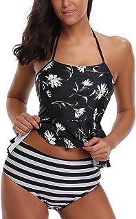 42a84e165a567 AYEEBOOY Frauen Plus Size Floral Halfter Tankini Set mit Boyshort  zweiteiligen Badeanzug