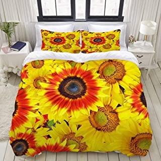 """Mokale Bedding Duvet Cover 3 Piece Set - Sunflowers Pattern - Decorative Hotel Dorm Comforter Cover with 2 Pollow Shams - Full 80""""x90"""""""