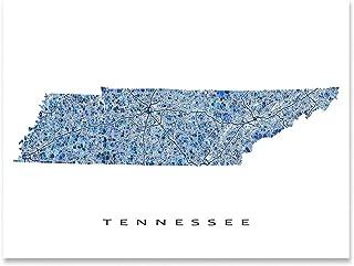 Tennessee Map Print, TN State Wall Art Decor, Blue