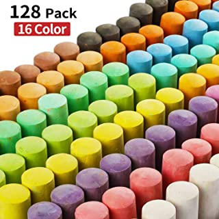 128 Pack 16 Colors Jumbo Sidewalk Chalk Set, Washable Art Play For Kid and Adult, Paint on School Classroom Chalkboard, Kitchen, Office Blackboard, Playground, Outdoor, Gift for Birthday Party