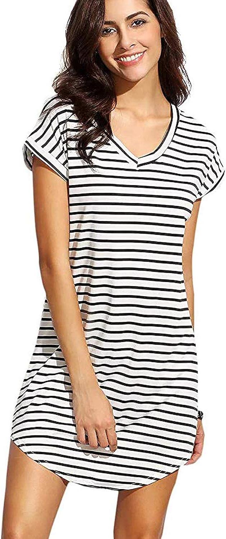 Floerns Women's Casual V Neck Striped T-Shirt Mini Dress