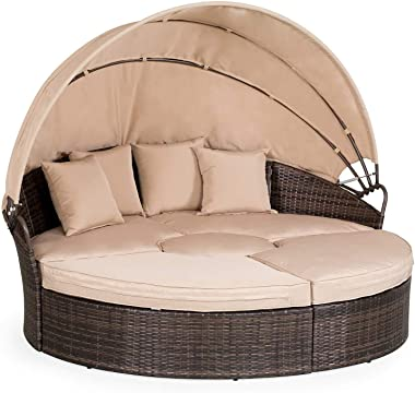 Oakmont Patio Furniture Outdoor Daybed Round Sofas with Canopy, Brown Wicker, 4 Pieces Seating Separates Cushioned Seats, 1 Round Center Table, Lawn Poolside Garden