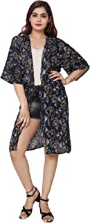 Dazzleup Womens wear Rayon Printed Shrug(Free Size) with Belt Black