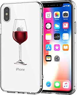 AIsoar Compatible/Replacement fit Case iPhone Xs Max TPU Soft Flower Printed Cute Silicone Anti-Shock Non-Slip Waterproof Gel Bumper Clear Cute Cartoon Patterns Protective Ultra Slim (Red Wine Glass)