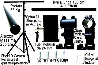 Trípode luces profesional con barra horizontal–Altura 255cm para efectos luz Máquinas de Humo Strobo–Soporte para faros y reflectores Teatro