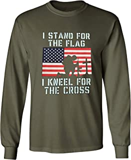 I Stand for The Flag I Kneel for The Cross Long Sleeve Military Patriot Tee