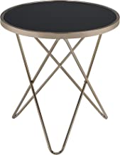 Acme Valora End Table, Black Glass & Champagne
